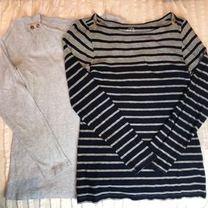 Lot of 2 J. Crew Painter Tees Boatneck S